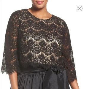 Eliza J Lace Overlay Top Size 16W
